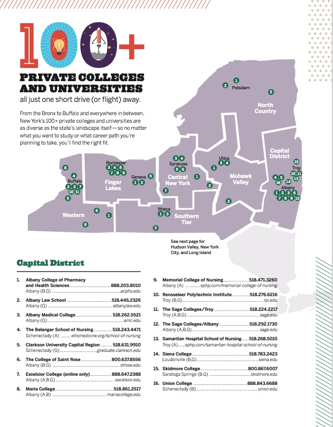 Map Of Southern New York.Campus Locator Map New York S 100 Private Not For Profit Colleges